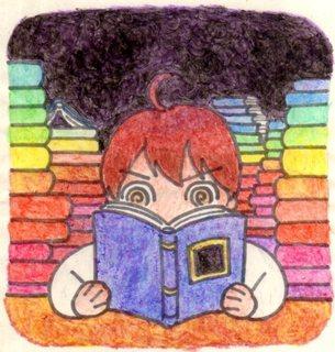 たくさんの本に囲まれている